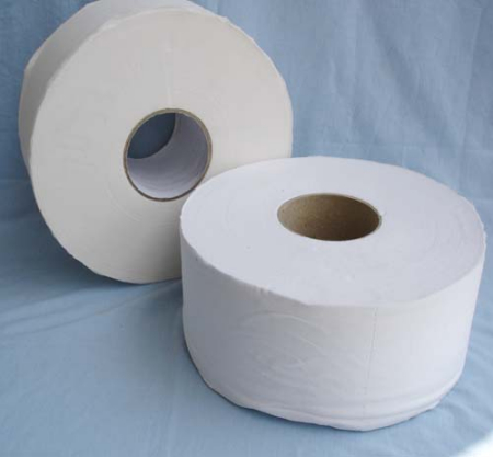 White Recycled 1-Ply Jumbo Jr. Bathroom Tissue